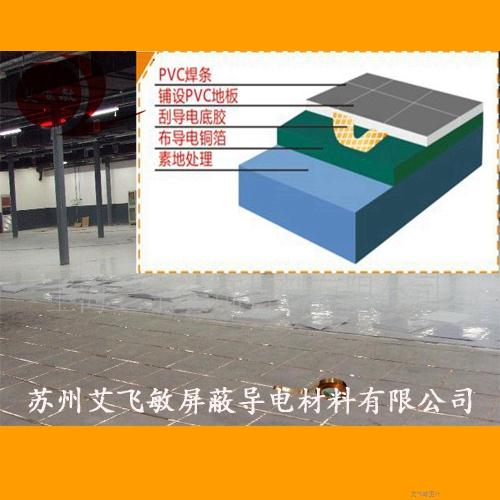 PVC防静电地板中如何用导电铜箔胶带的?